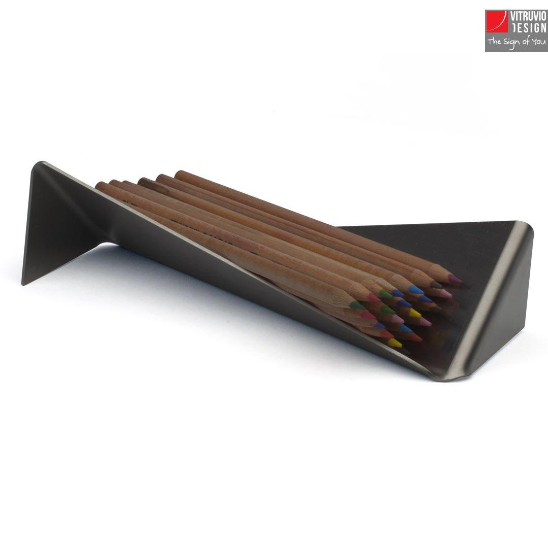 Stainless Steel Pen Holder Made In Italy Vitruvio Design