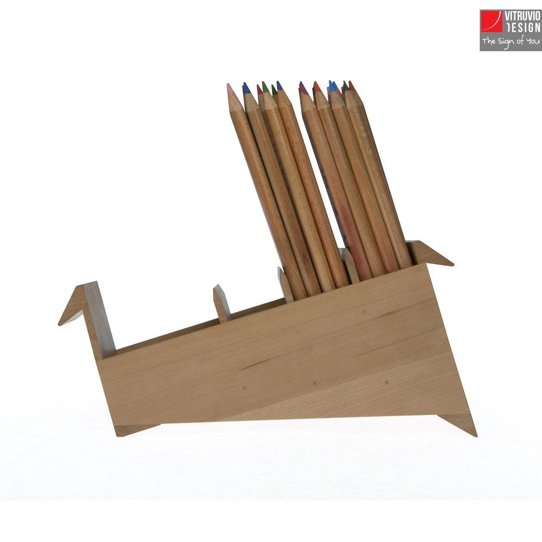 Wooden Pencil Holder Made In Italy Vitruvio Design