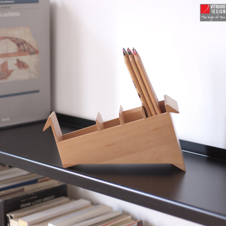 Portapenne di design in legno Made in Italy