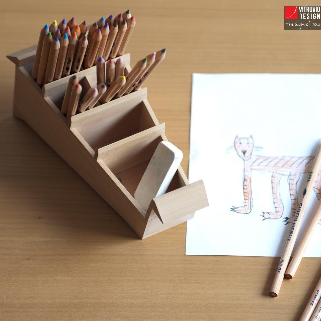 Portapenne di design in legno made in italy vitruvio - Portapenne da scrivania ...