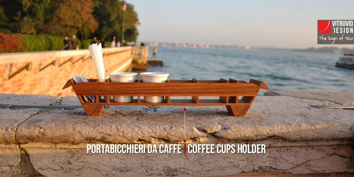 Wooden tray for espresso cups | Made in Italy
