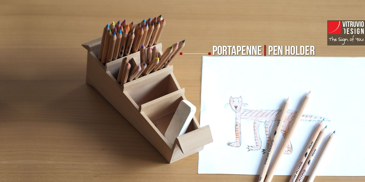 Wooden pencil holder | Made in Italy