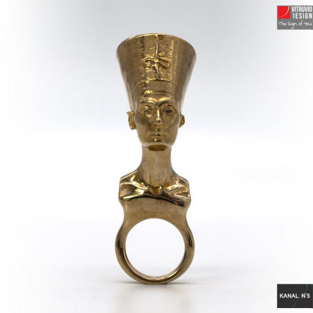Vitruvio Design - anello Nefertiti ottone dorato - Nefertiti ring gold plated brass