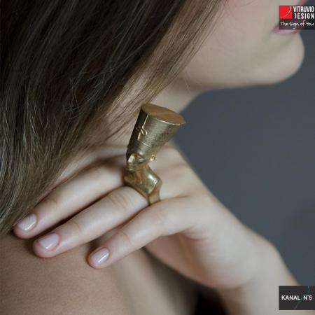 Vitruvio Design - anello Nefertiti ottone dorato - Nefertiti ring gold plated brass