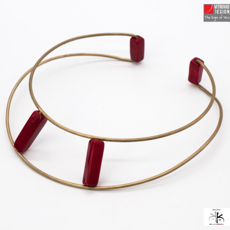 Vitruvio Design - Wire-G Collana Ottone Placcato Oro e Vetro - Necklace Wire-G Golden Plated Brass and Glass