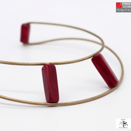 Vitruvio Design - Necklace Wire-G Golden Plated Brass and Glass - Wire-G Collana Ottone Placcato Oro e Vetro