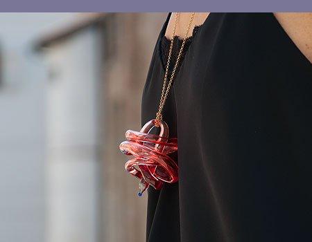 W-Heart | Lampwork pendant